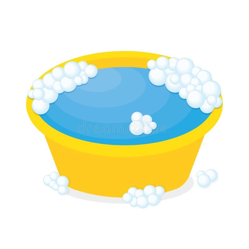 Plastic bassin met zeepzeepsop royalty-vrije illustratie