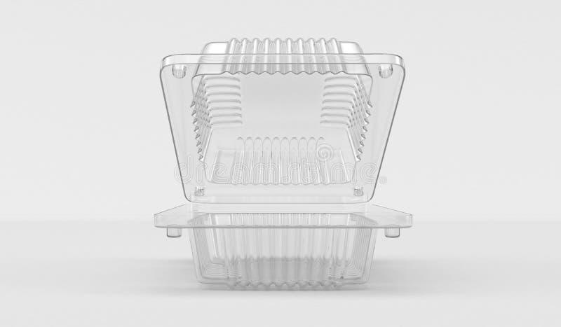 Plastic behållare för mat 3d framförande 3d vektor illustrationer