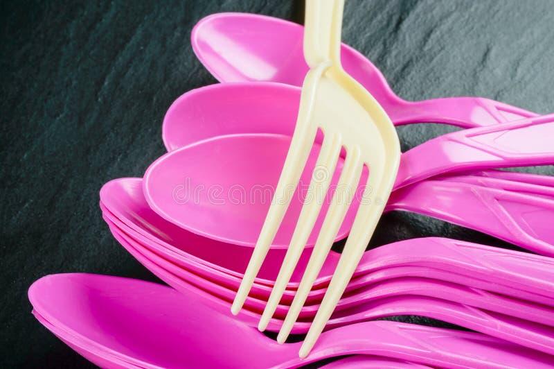 Plastic bestek royalty-vrije stock foto