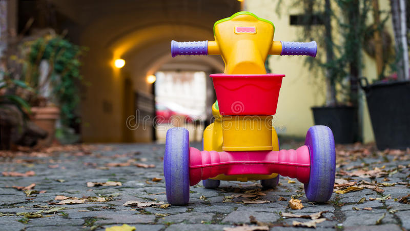 Plastic bicycle toys for kids.  stock photo