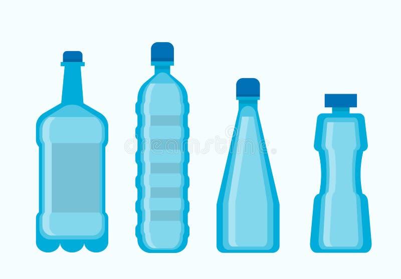Plastic blauwe waterflessen geplaatst die op wit worden geïsoleerd vector illustratie