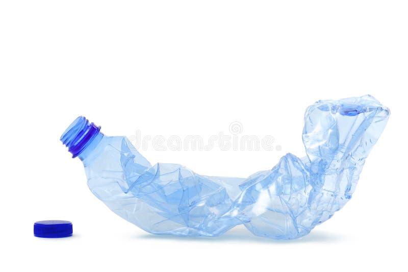 Plastic bottle. Crushed plastic bottle, on white background stock image