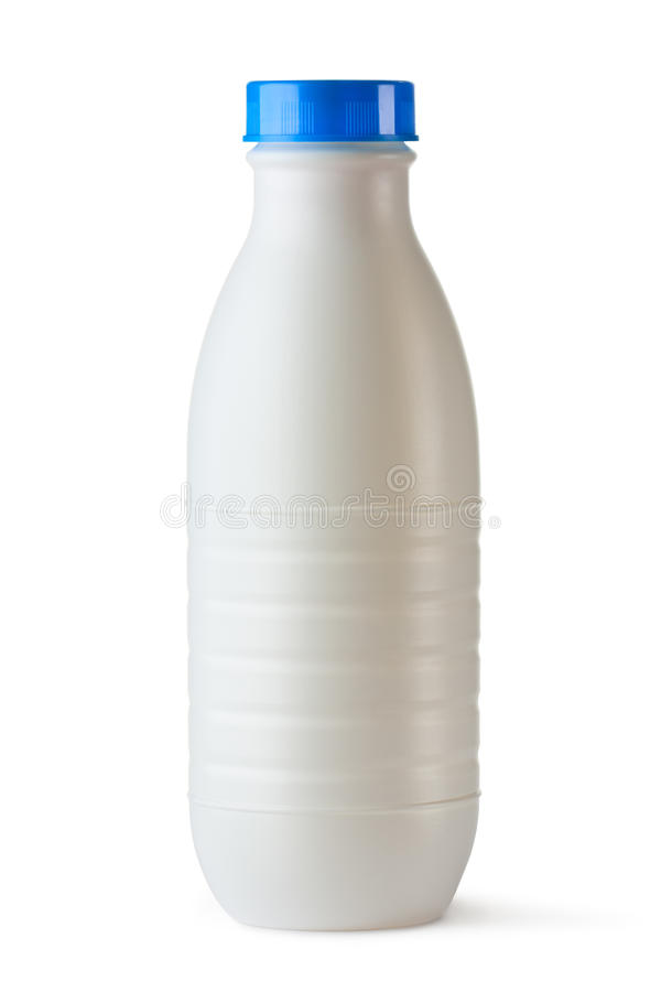 Plastic bottle with blue lid for dairy foods stock images