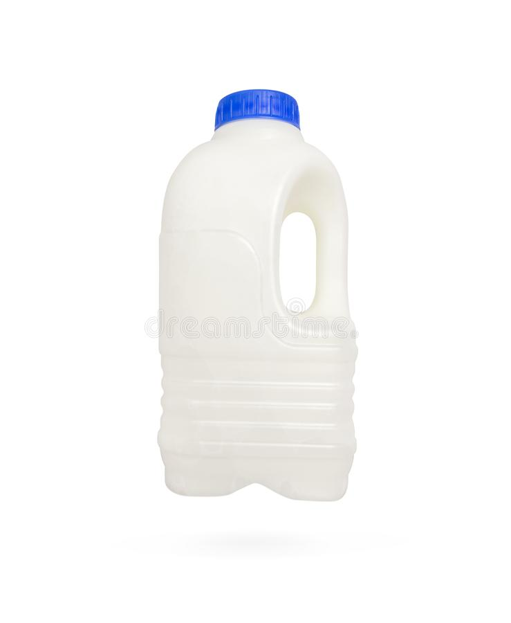 Plastic bottle with blue lid for dairy foods stock photos