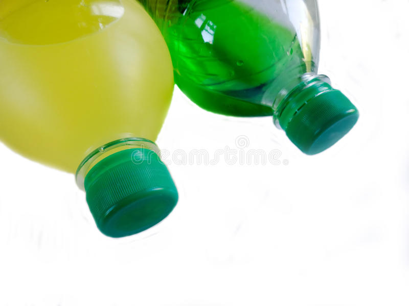 Plastic bottle. Capacity for liquid. Plastic bottle with a drink. Capacity for liquid stock photo