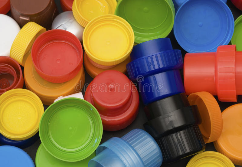 Plastic bottle caps. Multicolor plastic bottle caps for recycling royalty free stock photo