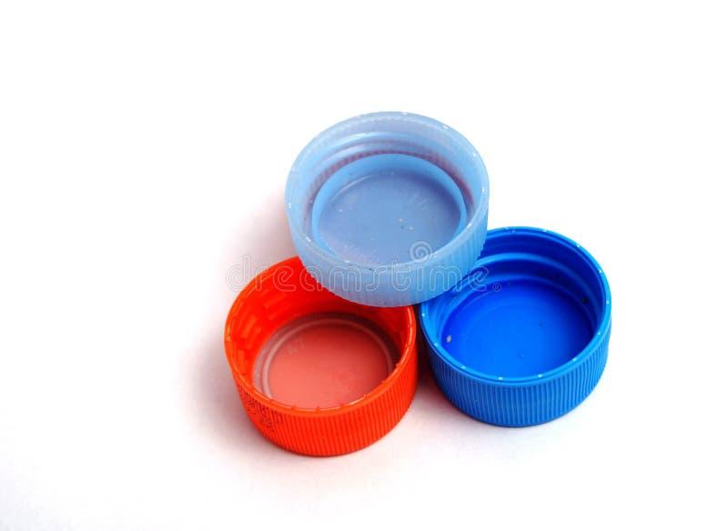 Plastic bottle caps. Picture of a Plastic bottle caps stock images