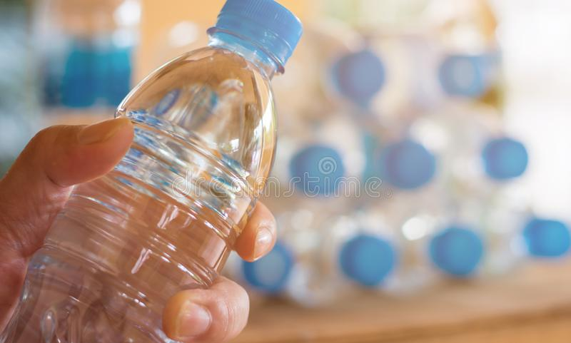 plastic bottle with caps for recycle waste,lot of water bottle w stock photos