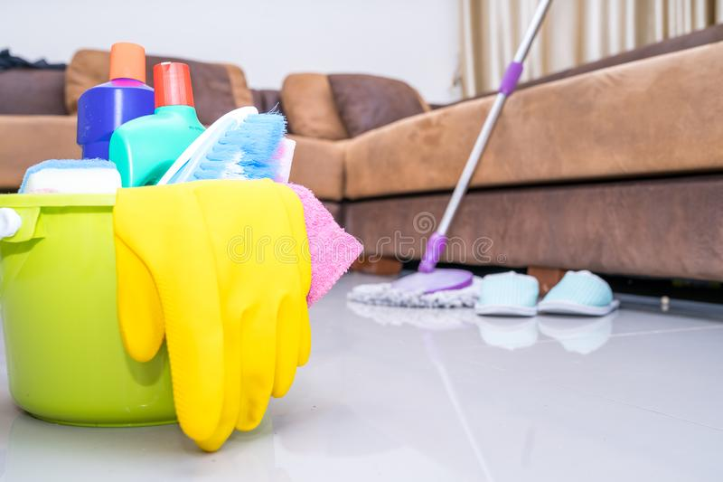 Plastic bottle cleaning sponge and gloves stock images
