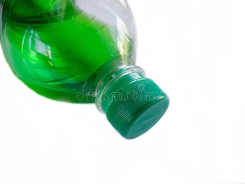 Plastic bottle. Capacity for liquid. Plastic bottle with a drink. Capacity for liquid stock photography