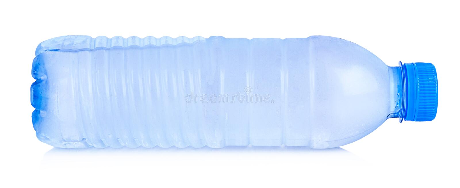 Plastic bottle of drinking water isolated on white background. Transparent blue object royalty free stock photography