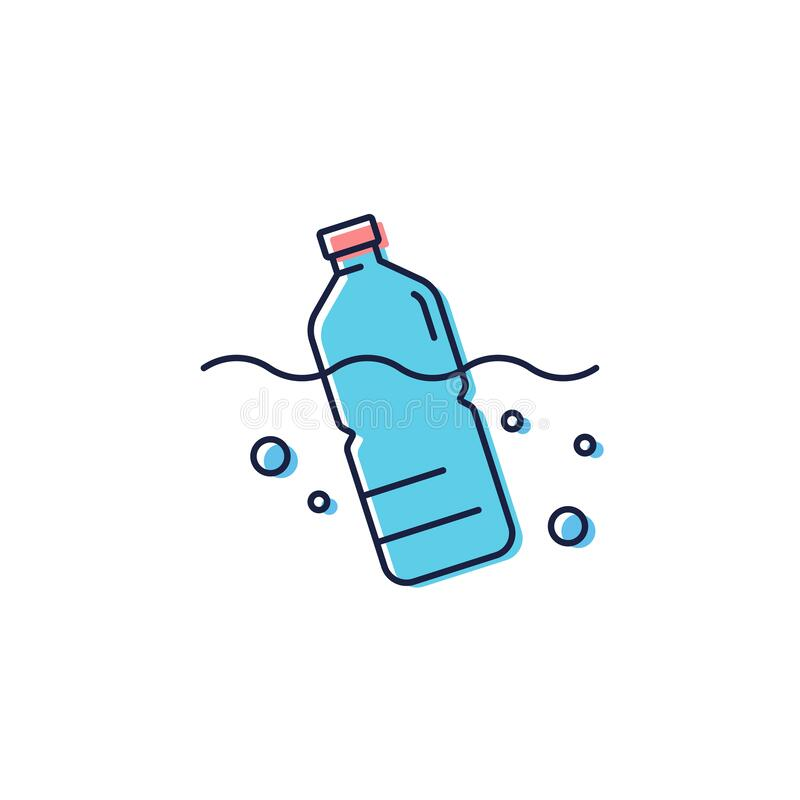 Free Plastic Bottle Floating In The Sea Vector Icon Symbol Sign Isolated On White Background Stock Images - 180060634