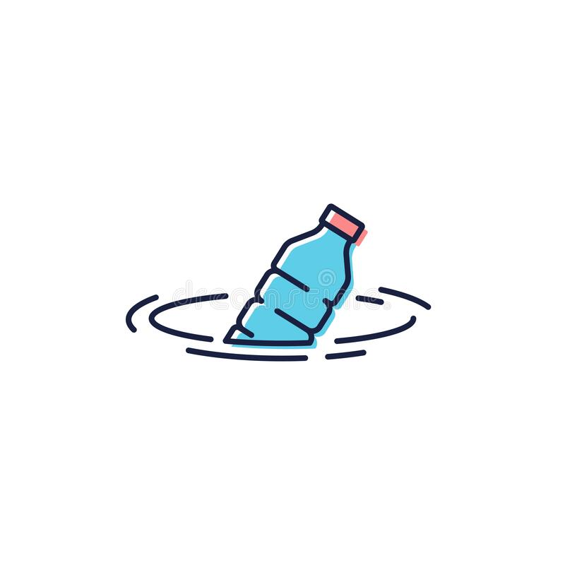 Free Plastic Bottle Floating In The Sea Vector Icon Symbol Sign Isolated On White Background Royalty Free Stock Images - 180060639