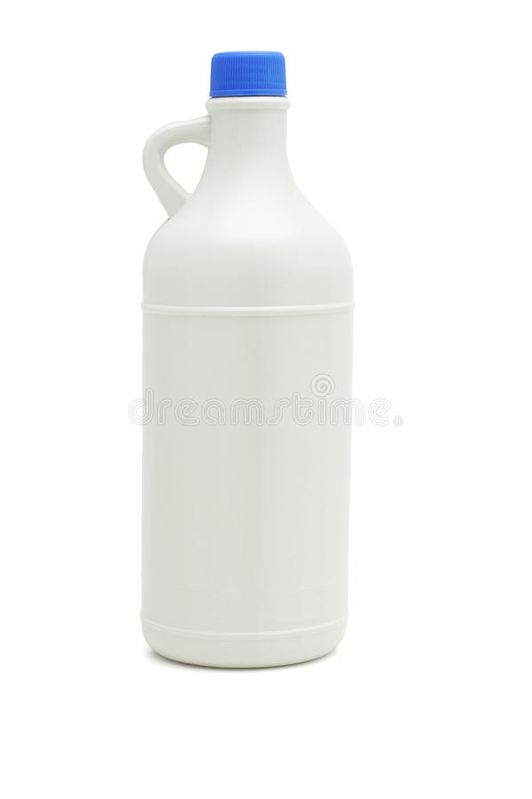 Plastic bottle with handle. Plastic bottle of household cleaning product on white background royalty free stock image