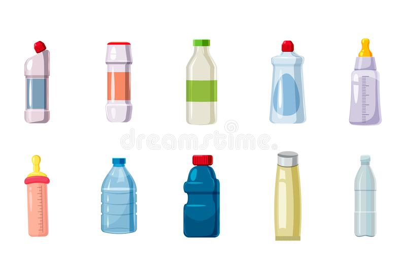 Plastic bottle icon set, cartoon style stock illustration