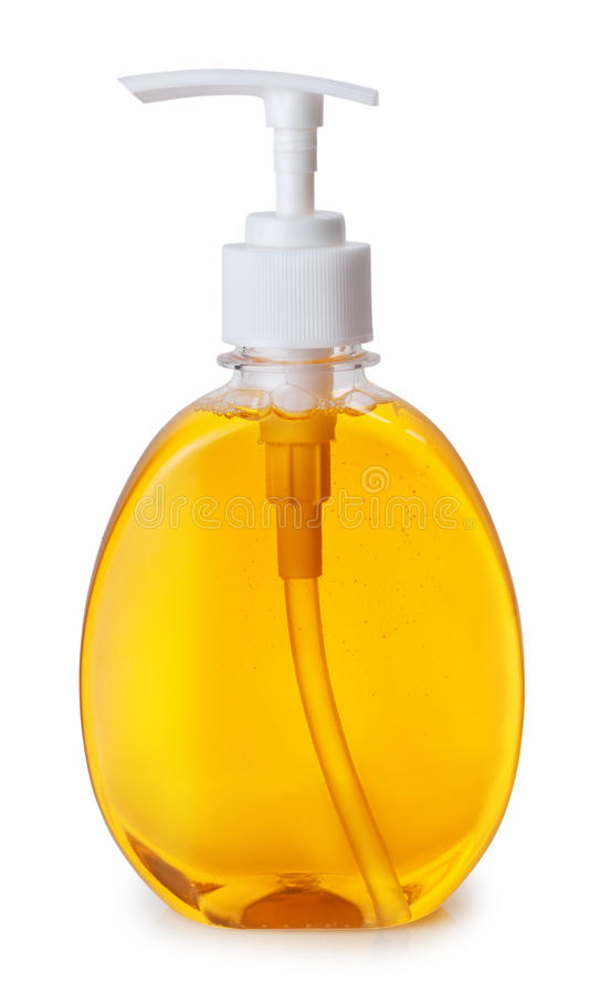 Plastic bottle with liquid soap on white background. One plastic bottle with orange liquid soap with pump on white background royalty free stock photos