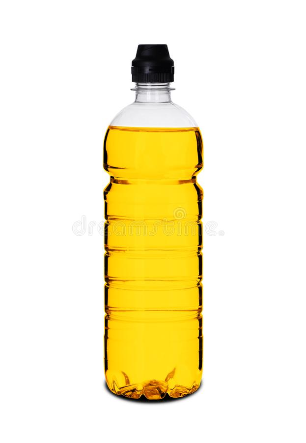 Plastic bottle with liquid. On a white background stock image