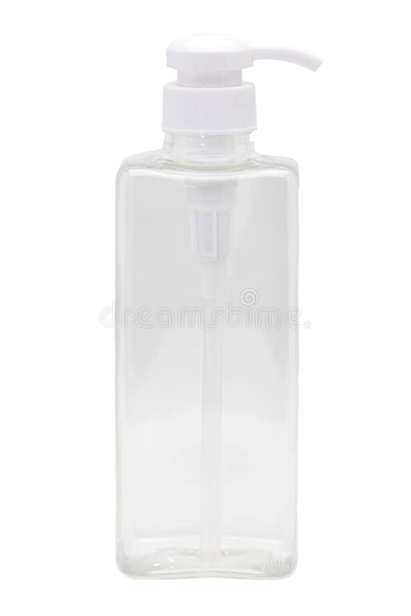 Plastic bottle. With pump on white background royalty free stock photography