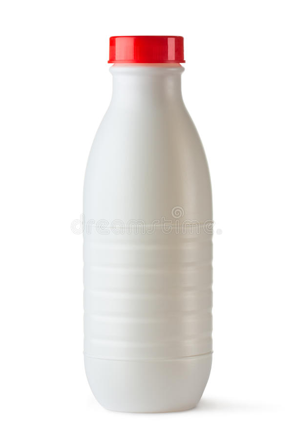 Plastic bottle with red lid for dairy foods stock images