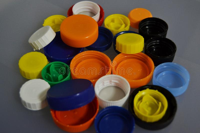 Plastic bottle stoppers royalty free stock images