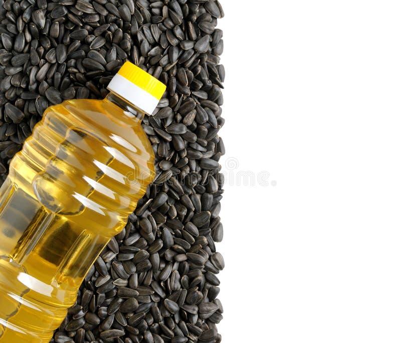 Plastic bottle of sunflower oil royalty free stock photo