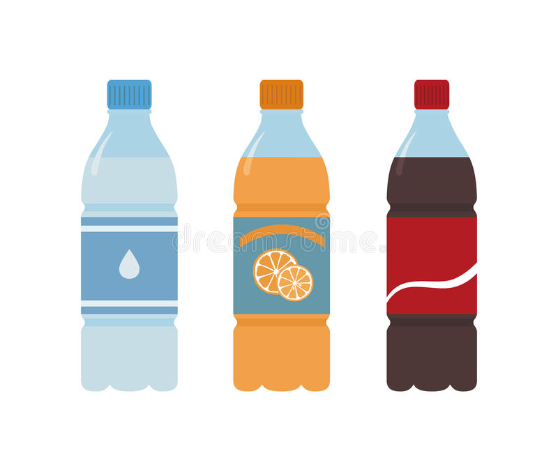 Plastic bottle of water. Orange, water and cola. royalty free illustration