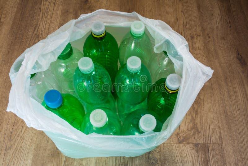 Plastic bottles. Ecological separation of household waste. Empty pet bottles in a plastic bag stock images