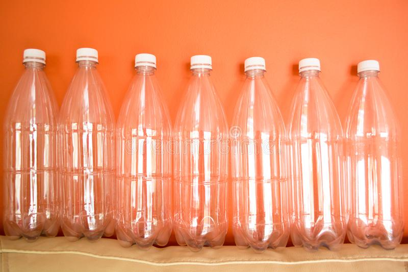 Plastic bottles PET, reuse, recycle and stop pollution royalty free stock images