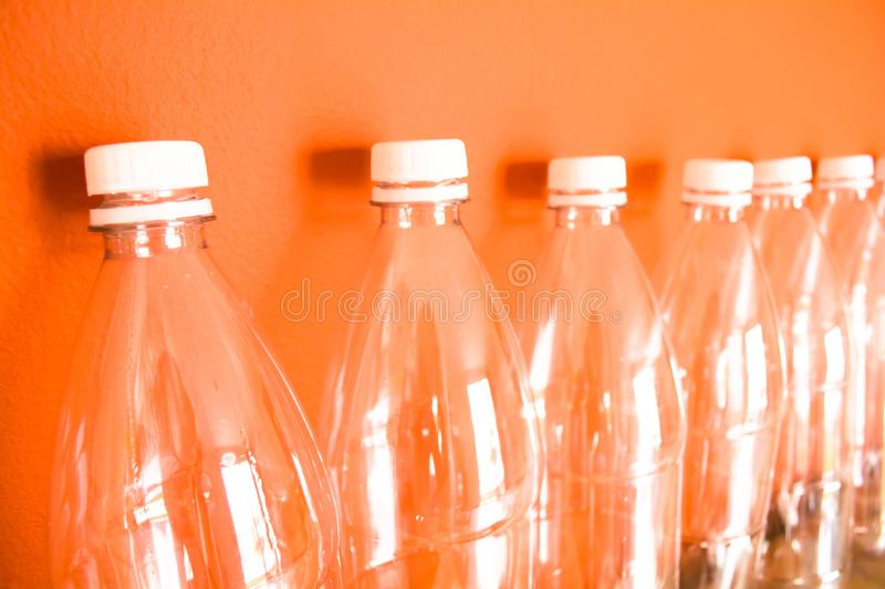 Plastic bottles PET, reuse, recycle and stop pollution stock photos