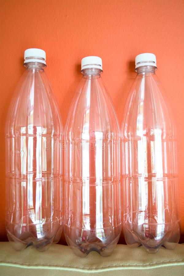 Plastic bottles PET, reuse, recycle and stop pollution royalty free stock image