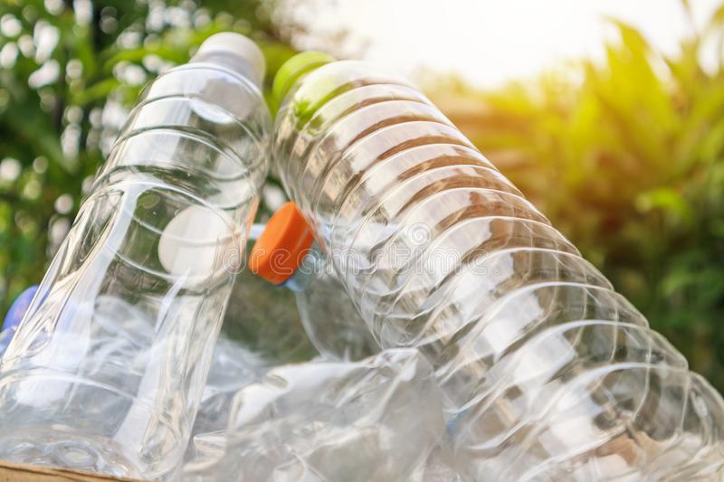 Plastic bottles for recycling background concept stock photo
