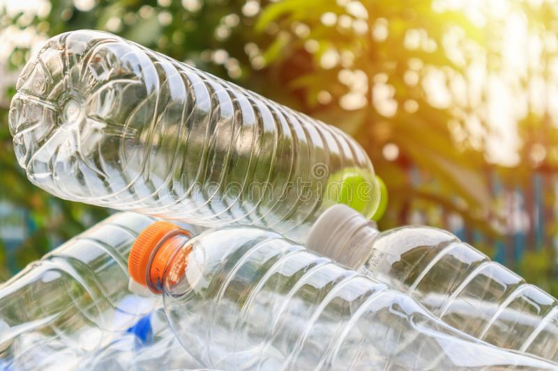 Plastic bottles for recycling background concept royalty free stock photo