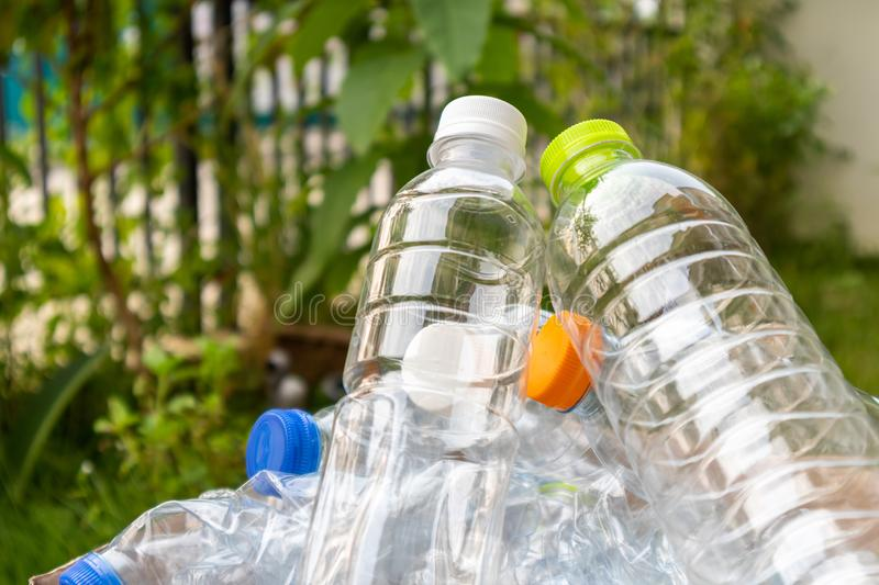 Plastic bottles , recycling background concept stock image