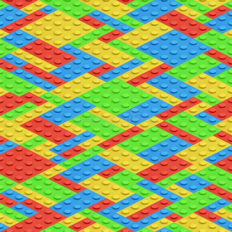 Plastic bouwstenen, 3d bakstenen vector naadloos patroon stock illustratie