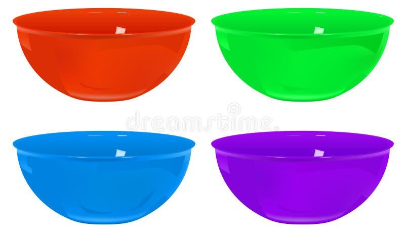 Plastic bowls. Four plastic bowls various colors, gradient mesh used royalty free illustration