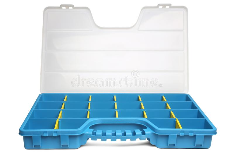Plastic box organizer for screws, bolts, dowels and some tools stock photos