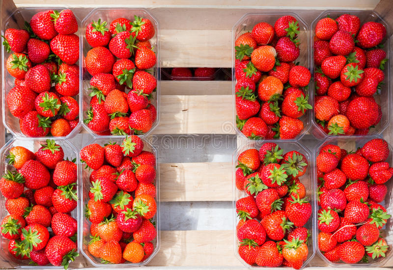 Plastic box package of red fresh strawberries stock image