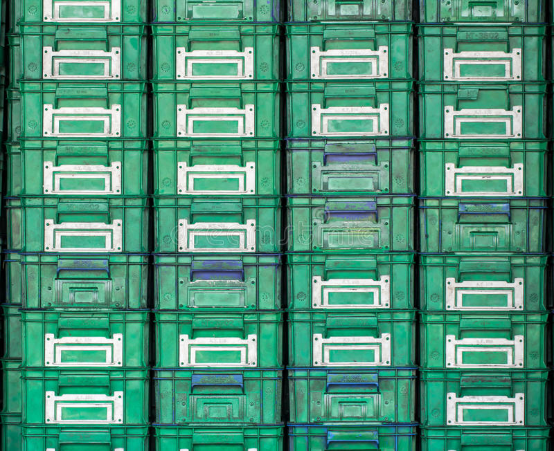 Plastic box placed orderly. In industries royalty free stock photography