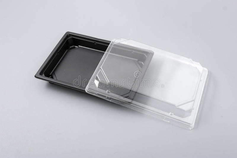 Plastic box with transparent cover for food.  stock photo