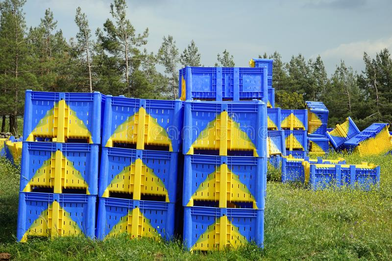 Plastic boxes. Blue plastic boxes near the forest stock image