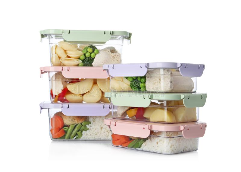Plastic boxes with fresh prepared meal isolated stock photography