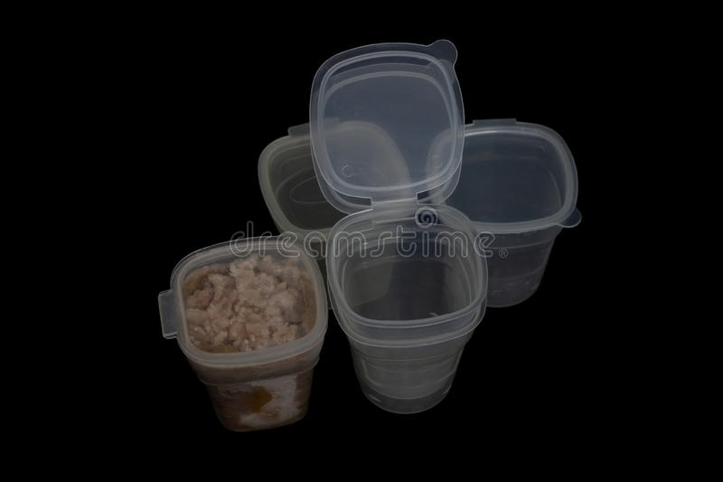 Plastic boxes for frozen food of children. stock photos