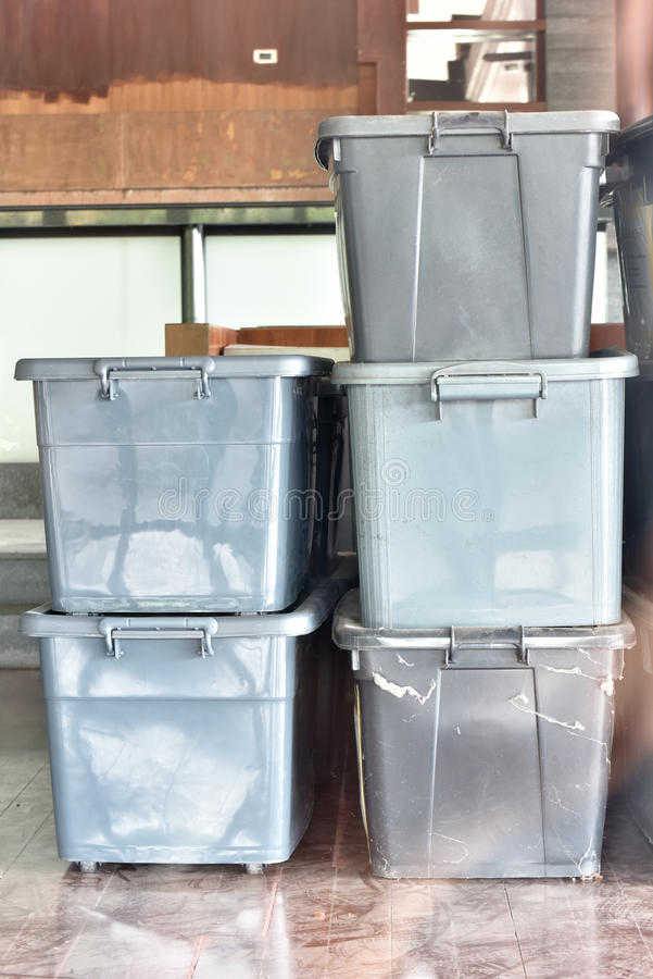 Plastic boxes stock images