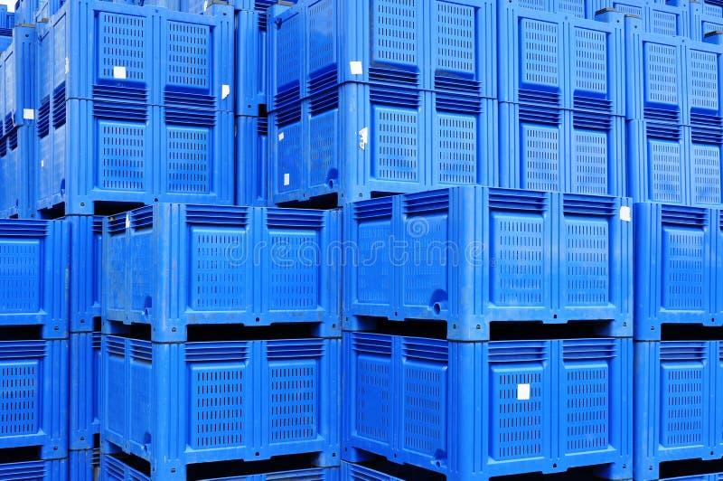 Plastic boxes storage stock photography