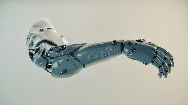 Plastic brawny cyber arm. Strong stylish futuristic robot arm prosthesis vector illustration
