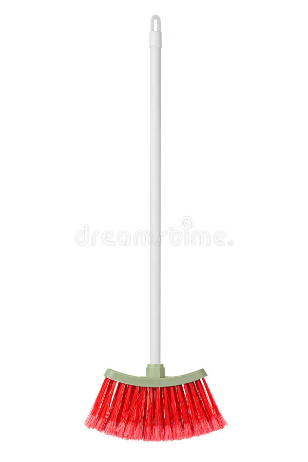 Plastic broom. Isolated on white background royalty free stock images