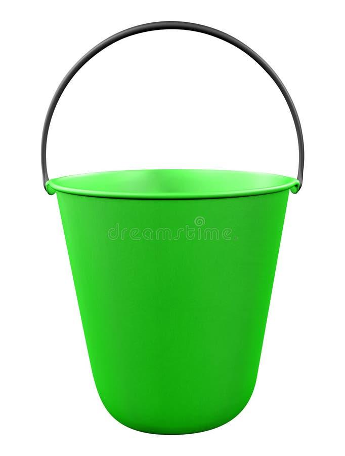 Plastic bucket isolated - green royalty free stock image
