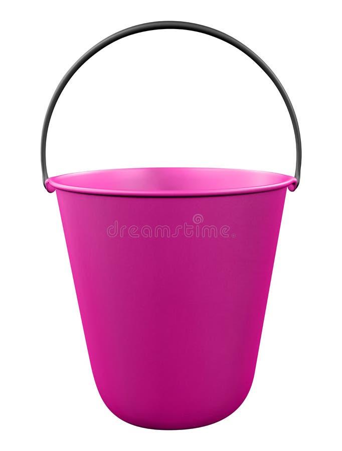 Plastic bucket isolated - pink stock photo
