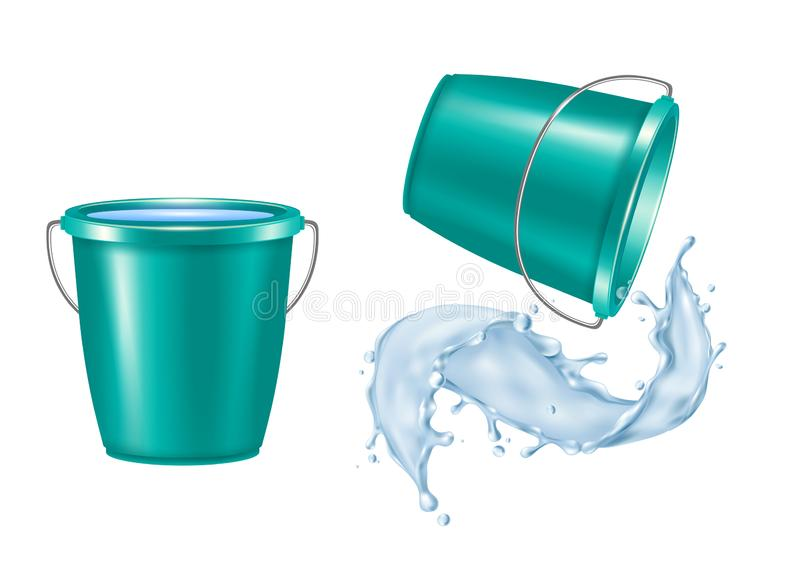 Bucket Realistic Set. Plastic bucket realistic set with pouring water isolated vector illustration stock illustration