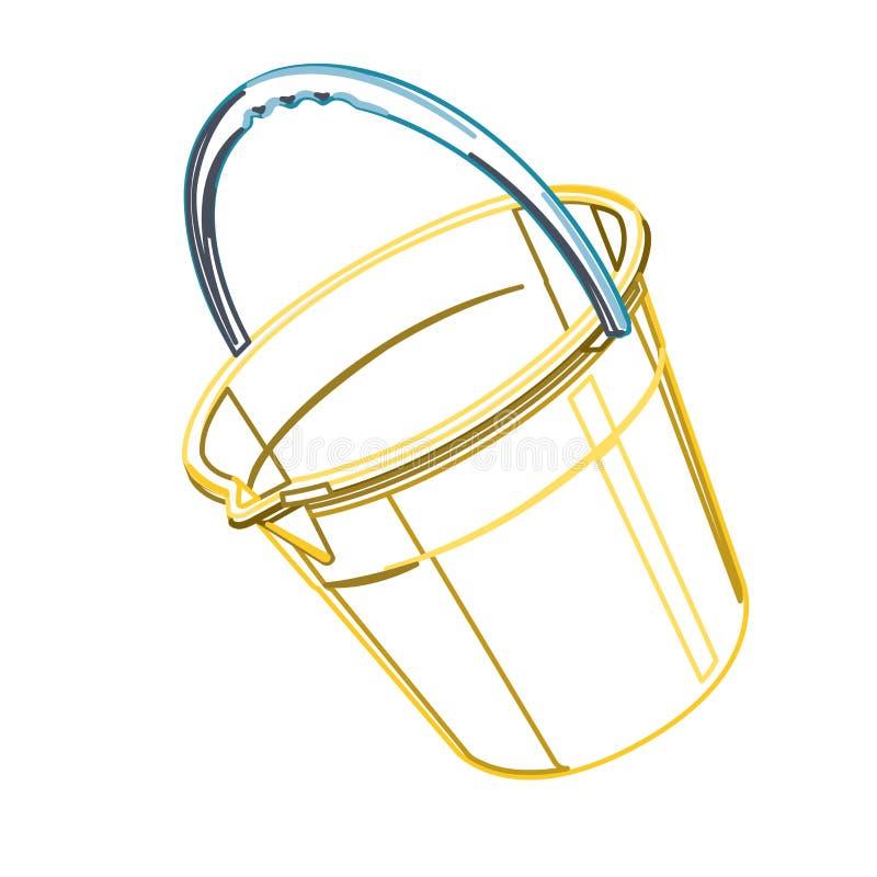 Plastic bucket on white, outline classical blue yellow orange bucket. vector illustration
